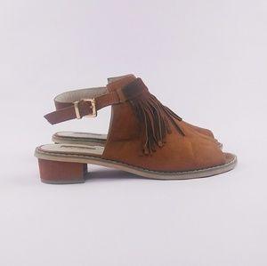 Topshop Blinder Fringe Shoe Boots Sandals Sz 8